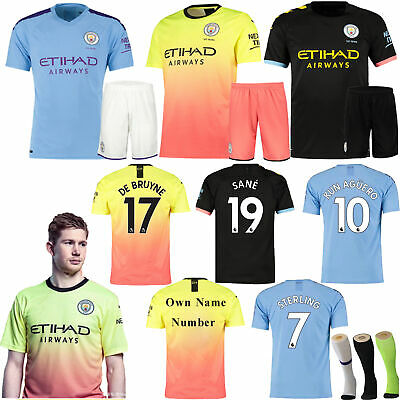 19/20 Home Away kids Youth Adult Football Kit Short Shirt Soccer Jersey+Socks AU