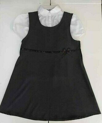 BHS Girls School Pinafore Dress Blouse Age 9-10 Grey Generous Fit Plus Size