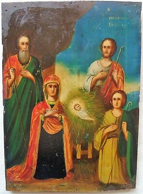 Antique Russian icon of the Nativity of Christ. 19th century. 30x21 cm.