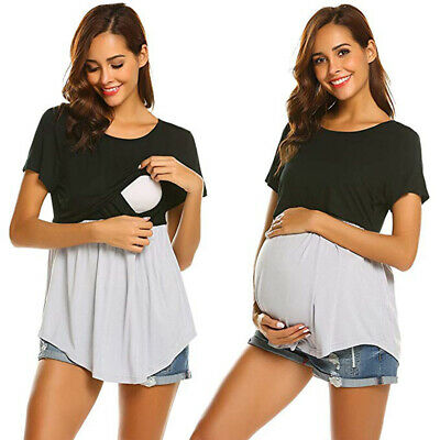 Pregnant Womens Maternity Top Nursing Breastfeeding T Shirt Blouse Daily Clothes