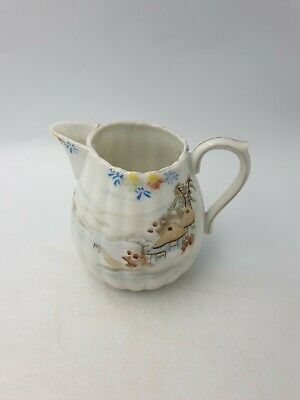 Antique Japanese Fine Porcelain Jug Small Pitcher Hand Painted Water View Huts