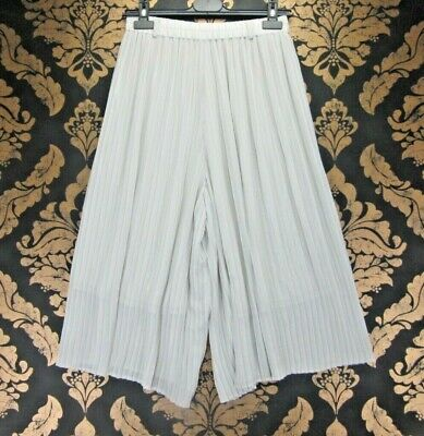 "VINTAGE RETRO BOHO LIGHT GREY PLEATED CULOTTES HIGH WAIST U.K12 w30"" L16"" s64"