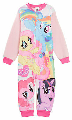 Girls My Little Pony Fleece All In One Pyjamas Kids Character Sleepsuit Pjs Size