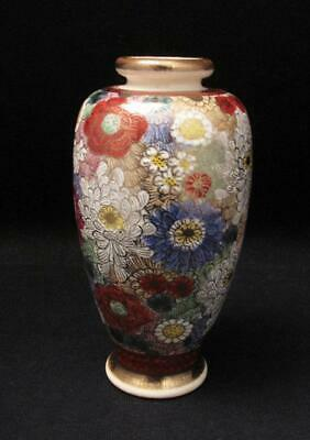 Antique Japanese Satsuma Handpainted Thousand Flowers Floral Gilt Vase Signed #2