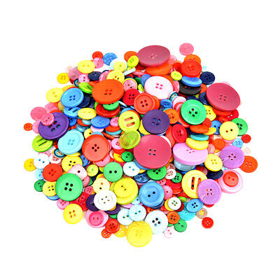 Lot 600pcs Resin Buttons 2 Holes Mix Color Fastener DIY Sewing Crafts 7mm-25mm