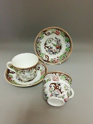 Pair of Antique Hand Painted over Transfer Cups & Saucers Peacocks & Floral