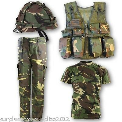 Boys Army Soldier Outfit Kids 3-13 Trousers T-Shirt Assault Vest Helmet Dpm Camo