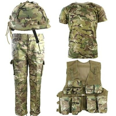 Boys Army Soldier Outfit Kids 3-13 Trousers T-Shirt Assault Vest Helmet Btp Camo
