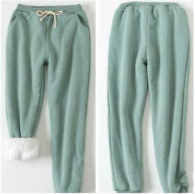 New Women's Winter Sports Pants Sweatpants Thicken Fur Lined Warm Loose Trousers
