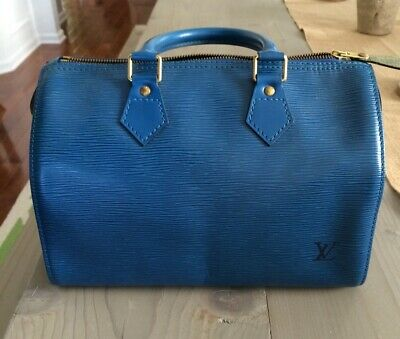 Authentic Louis Vuitton Toledo Blue Epi Speedy 25