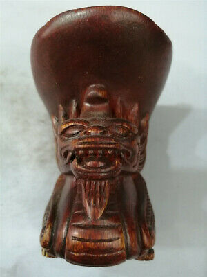 "3.54"" Chinese Exquisite Ox horn Hand-carved Dragon Ox horn cup wine cup"
