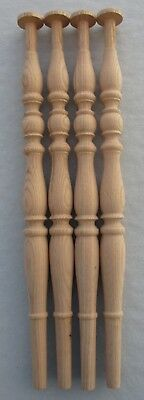 """OAK UNFINISHED TABLE FURNITURE LEGS  BALUSTERS w/ BULBOUS TURNINGS 26 1/4"""" high"""