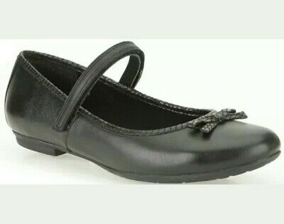 New Clarks Junior Girls Black Leather School Shoes Size UK 3 -3.5 Fit F,G,H