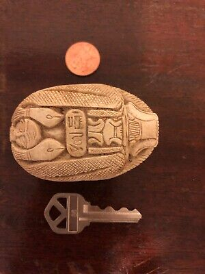 Extra Large  Scarab Egyptian Hieroglyphics Amulet Beetle Whistle  Stone