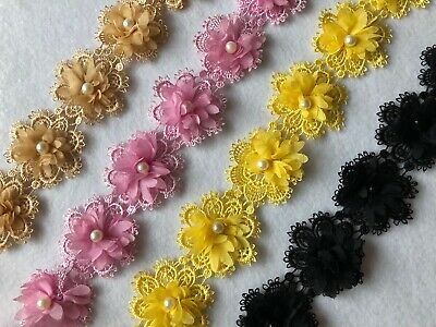 10 x 50mm Flower with Pearl Embroidered Applique Edge Trim Lace