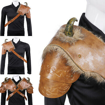 Adults PU Leather Cosplay Medieval Viking Shoulder Armor Halloween Props Costume