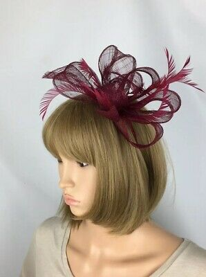 Burgundy Fascinator Hatinator Ladies Day Ascot Races Mother Of The Bride Wedding