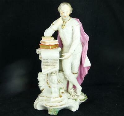 Antique 18Th Century Derby Porcelain Figure Of Shakespeare