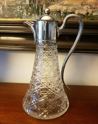 Fabulous Daniel & Arter Silver Plated And Hobnail Pattern Cut Glass Claret Jug.