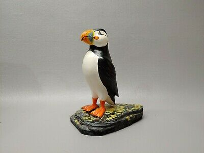 """Hand Carved wooden wood Atlantic Puffin bird statue artist signed 6 1/4"""""""