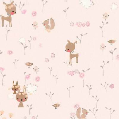369883 - Boys & Girls Woodland Animals Brown Green Pink AS Creation Wallpaper