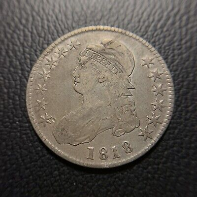 1818 Capped Bust Half Dollar VF Very Fine Early Rare Type Silver Coin 50c