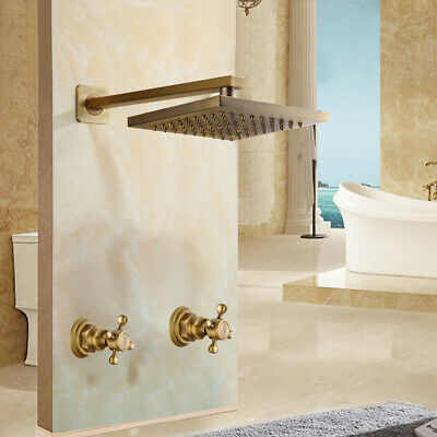 Bathroom Square Antique Brass Wall Mounted Mixer Faucet Rainfall Shower Head Tap