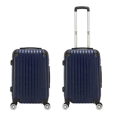 "20"" Expandable ABS Carry On Luggage Travel Bag Trolley Suitcase Navy Blue"