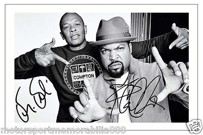 Dr Dre & Ice Cube Signed 6X4 Photo Print Autograph Nwa Rap Out Of Compton
