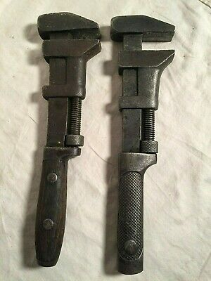 Lot 2 Vintage Antique adjustable Monkey Pipe WRENCH Smooth PEXTO 12""