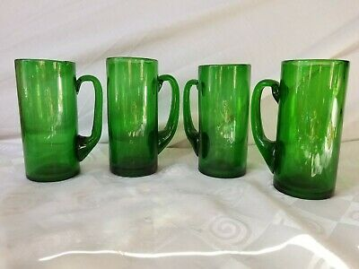 Emerald Green Glass Handled Mugs Hand Blown Beer Ice Tea Water Glasses Set of 4