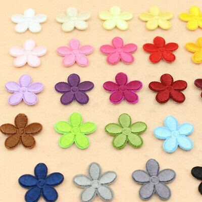 10Pcs Flower Patches Iron On Embroidery Applique Sewing DIY Fabric Badge Decor