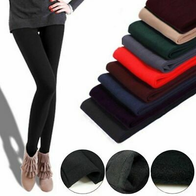Women's Solid Winter Thick Warm Fleece Lined Thermal Stretchy Leggings Pants US