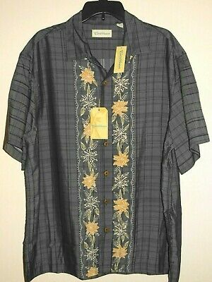CARIBBEAN Roundtree /& Yorke Linen /& Cotton Plaid Slort Sleeve Button Front Shirt