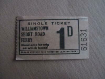 Vintage ferry ticket, '1D' Williamstown Short Road Ferry, historical