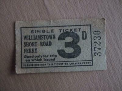Vintage ferry ticket, '3D' Williamstown Short Road Ferry, historical