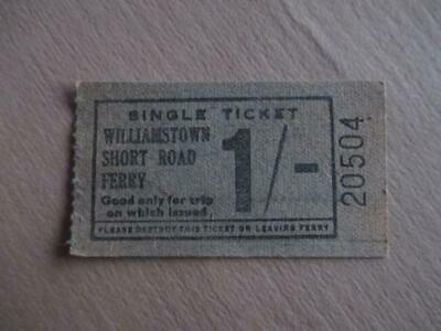 Vintage ferry ticket, '1/-' Williamstown Short Road Ferry, historical