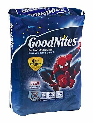 Fits Sizes 4-8 GoodNites Bedtime Bedwetting Nighttime Underwear Boys S-M 14 Ct