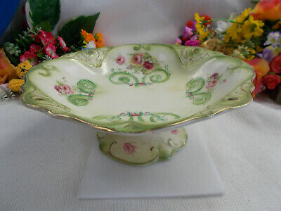Stunning Antique Style Pedestal Bowl - Hand Painted Gold Trimmings Gc # 483
