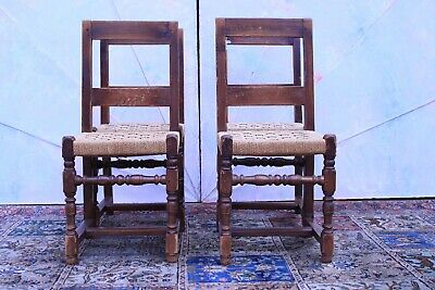 Ancient Four Chairs / Woven/Period Beginning of 800 / Furniture Antique