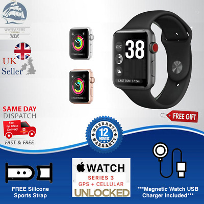 Apple Watch Series 3, 38mm CELLULAR Space Grey/Rose/Silver Aluminium, FREE Strap