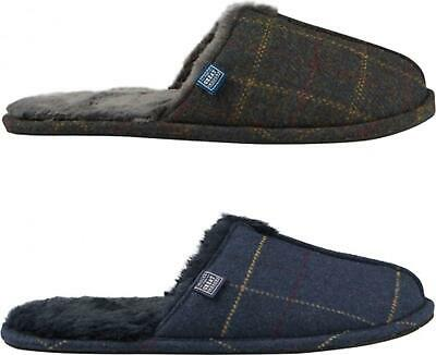 Joules FURLTON Mens Soft Textile Fleece Lined Mule Slippers Brown/Navy Tweed