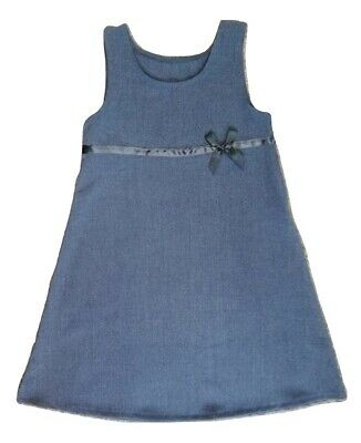 NEW Girls BHS grey straight school dress pinafore Age 6 7 8 9 Years Ribbon Bow