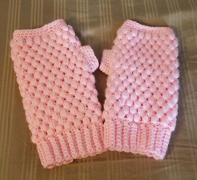 Handmade Crochet warm winter fingerless gloves with thumb in light pink