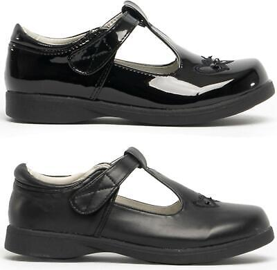 Boulevard Girls Faux Leather Touch Fasten T-Bar Mary Jane School Shoes Black