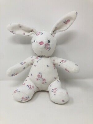 Mothercare White Floral Plush Bunny Rabbit Baby Comforter VGC