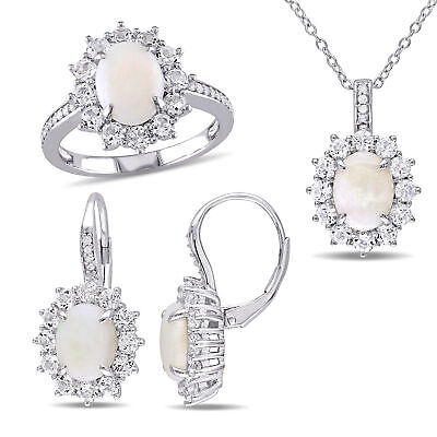 Amour Sterling Silver Opal White Topaz and Diamond Halo Jewelry Set