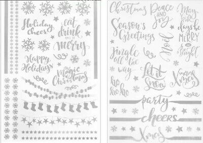 2 x Sheet of Merry Christmas Xmas Festive Party Gold Foil Wine glass stickers