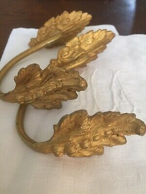 Vintage French Brass Cutain Holders Tie Backs Pair