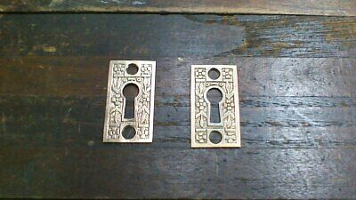 Pair of Antique Decorative Brass Key Hole Lock Escutcheon Cover Plates